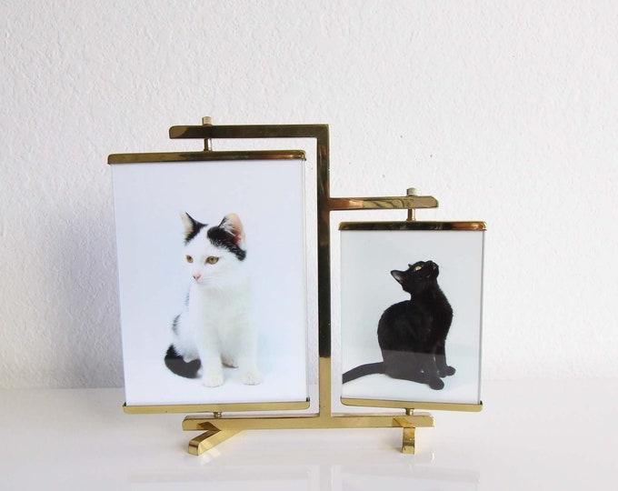 Vintage Photo Frame Brass Glass Adjustable Mid Century Modern Home Decor