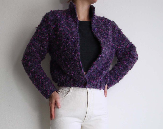 Vintage Knit Jacket Womens Sweater Jacket Small Purple Mohair 1980s Boucle Knit