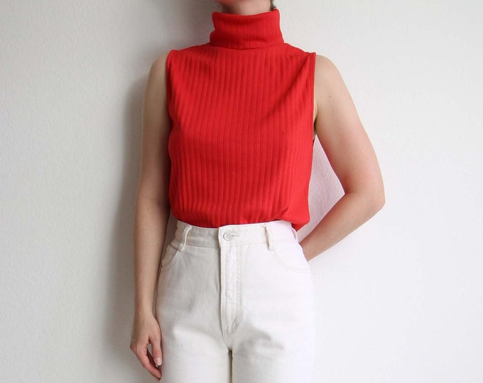 Vintage Turtleneck Sleeveless Top 1970s Red Long Womens Medium