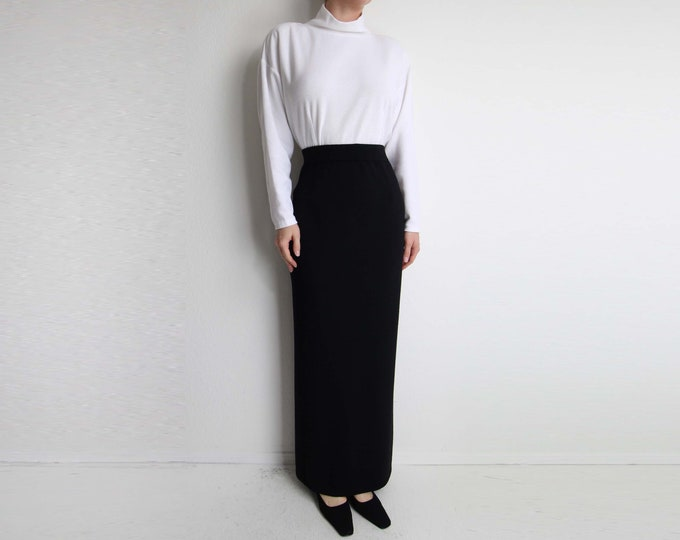 Vintage Long Black Skirt St John Knit Maxi Skirt Womens Small