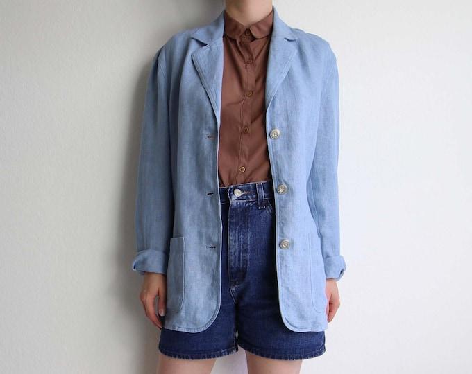 Vintage Jacket Womens Linen Blazer Blue 1990s Medium