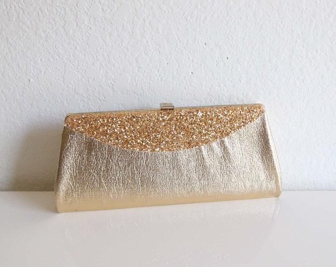 Vintage Gold Glitter Clutch Evening Bag Handbag
