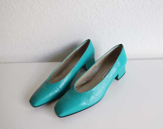 SALE Vintage Womens Shoes Size 7 Teal Green Heels Leather Square Pumps