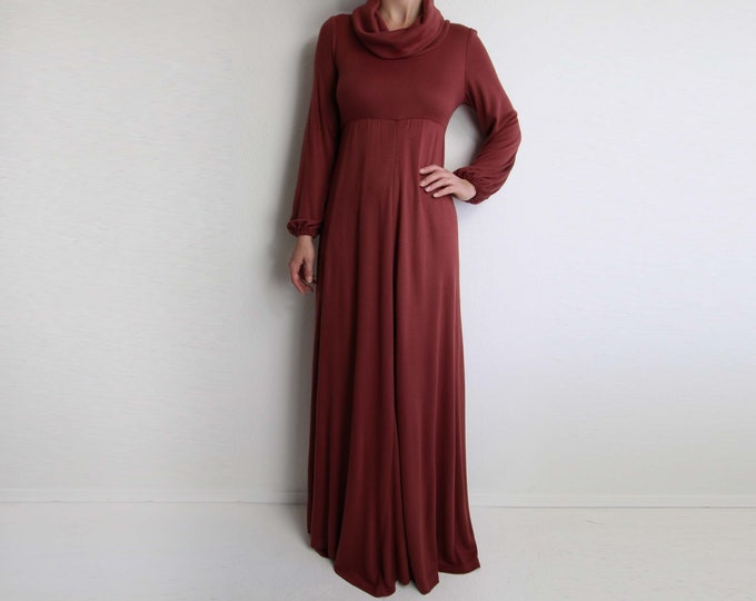 Vintage Dress 1970s Maxi Dress Cowl Neck Long Womens Extra Small