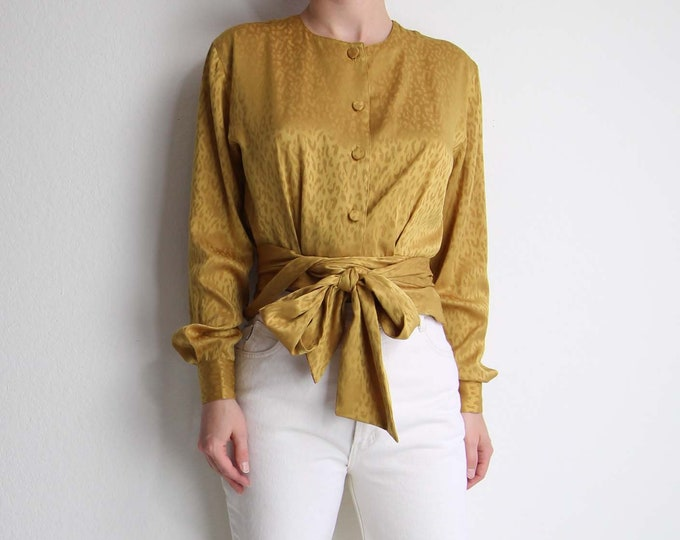 Vintage Gold Blouse Womens Top Longsleeve Medium