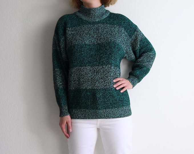 Vintage Sweater Womens Small 1980s Static Knit Green Stripe