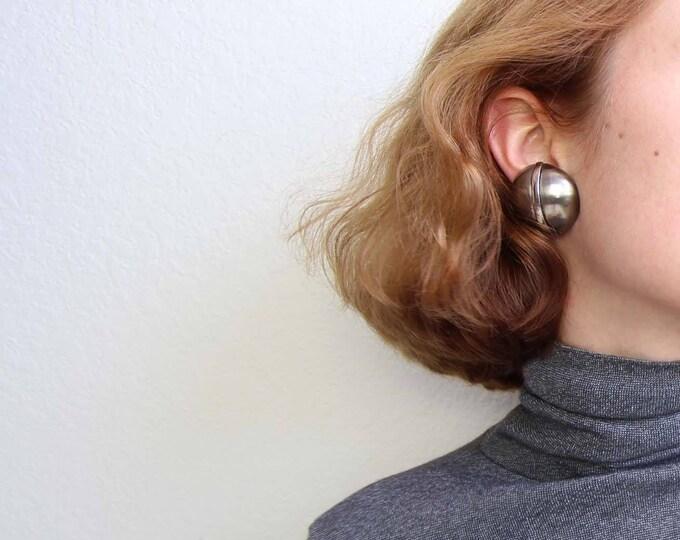 Vintage Earrings 1980s Big Round Art Deco Pewter Silver Metal Clip Ons