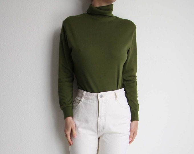 Vintage Turtleneck Womens Longsleeve Top Medium Olive Green
