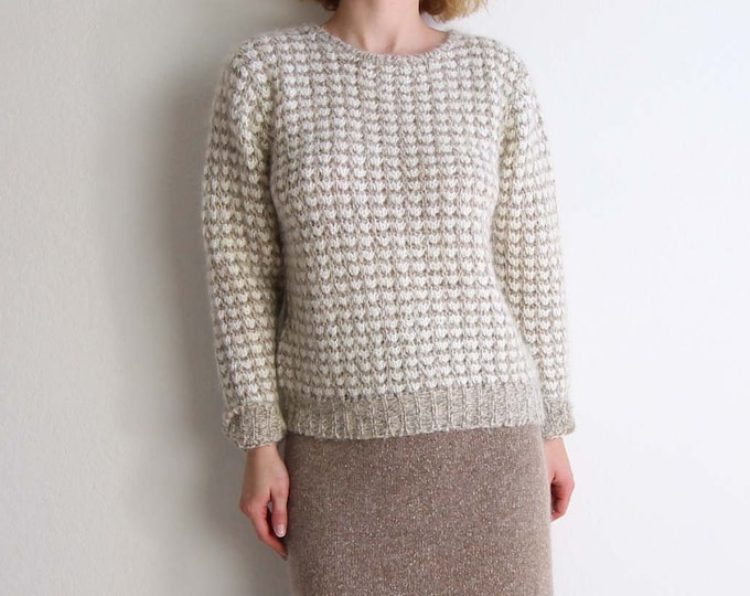Vintage Womens Sweater Soft 1980s Open Knit Top Medium