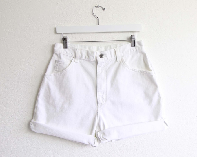 Vintage White Denim Shorts 30 Womens Jean Shorts 1980s Lee Jeans High Waist Large Made in USA