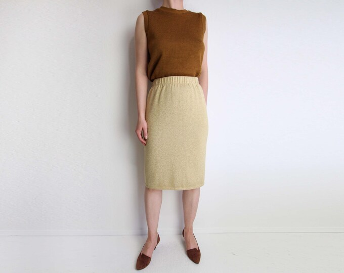 Vintage Gold Skirt Metallic Knit Skirt 1980s Womens Small