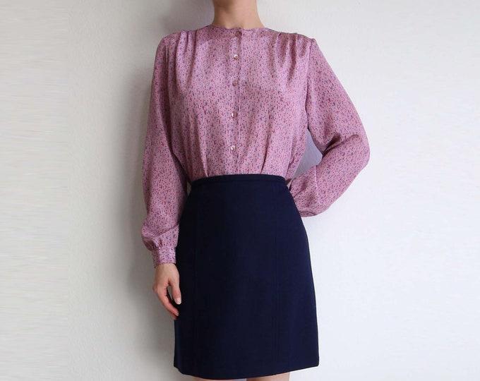 Vintage Blouse 1980s Purple Print Top Longsleeve Womens Shirt Medium