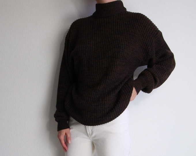 Vintage Womens Sweater Small 1990s Mock Neck Brown Black Static Knit Long