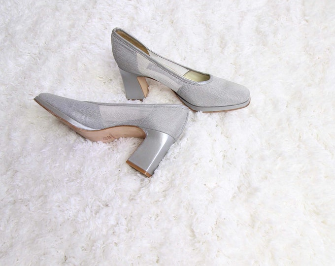 Vintage Silver Heels Womens Shoes Size 6 Leather 1990s Heels