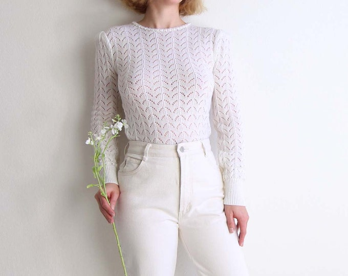 Vintage White Sweater Open Knit Top 1980s Pearls Womens Extra Small