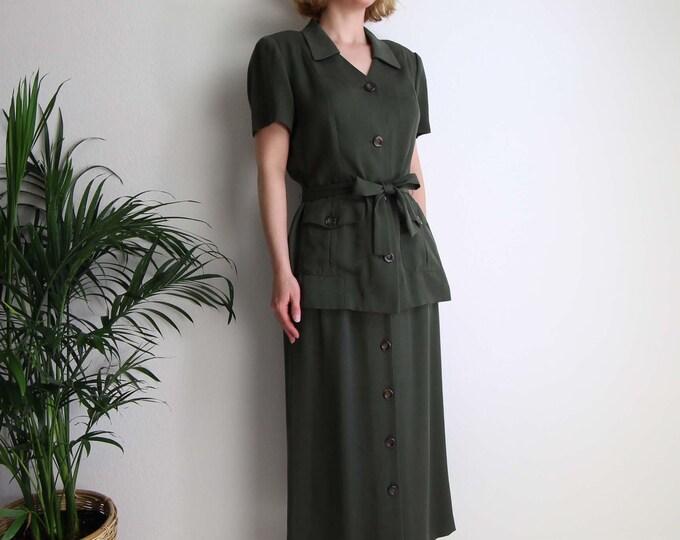 Vintage Matching Set Top Skirt 1990s Womens Dress Medium Fatigue Green