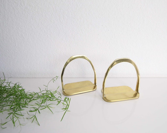 Vintage Bookends Brass Metal Mid Century Home Decor
