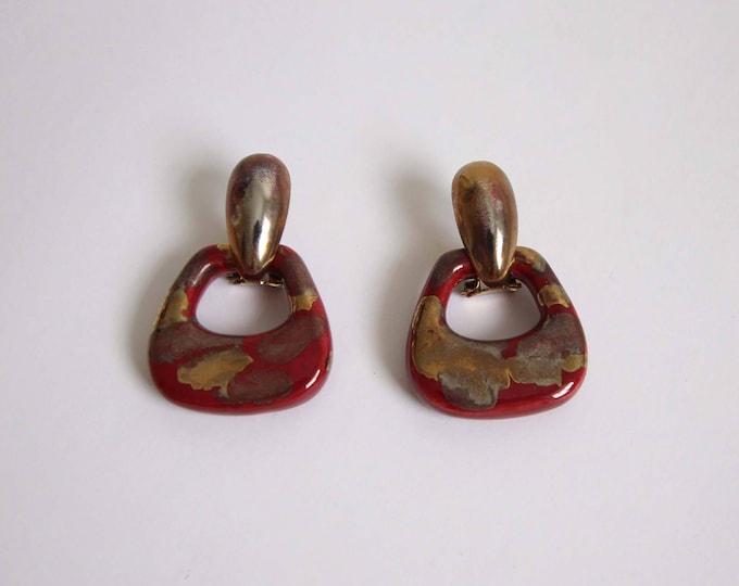 Vintage Earrings Metallic Maroon Dangle 1980s Modern Pierced