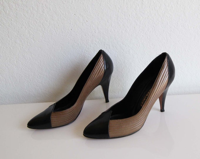 Vintage Stiletto Heels 1980s Pumps Black Brown Leather Womens Shoes Size 7 Narrow