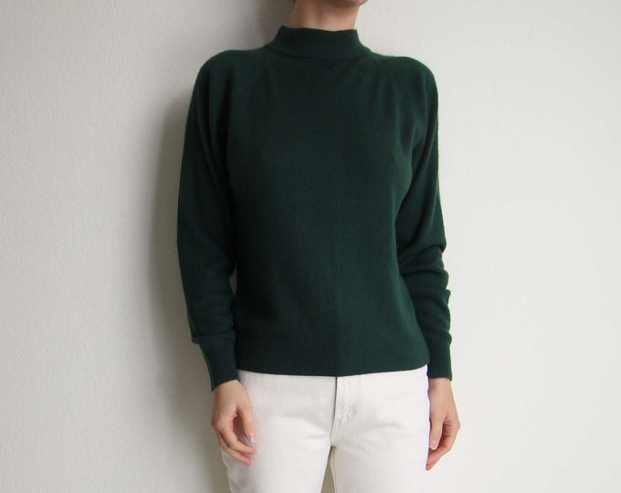 Vintage Green Sweater Womens Top Small Mock Neck Longsleeve Knit Top