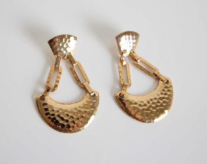 Vintage Earrings 1980s Big Earrings Hammered Metal Pierced Dangle
