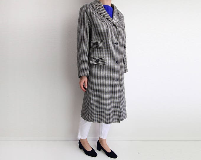 Vintage Womens Coat 1960s Coat Wool Jacket Houndstooth Medium