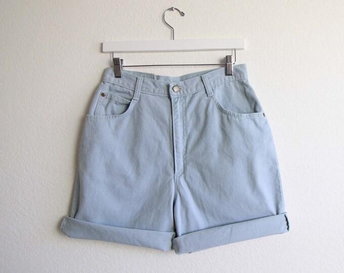 Vintage Denim Shorts Womens Jean Shorts Powder Blue Medium 29 Made in USA