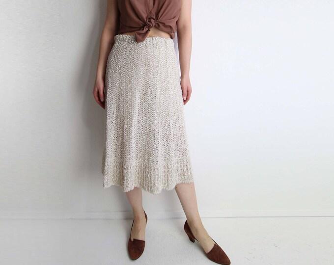 Vintage Skirt Womens Small 1970s Crochet Skirt Natural Linen