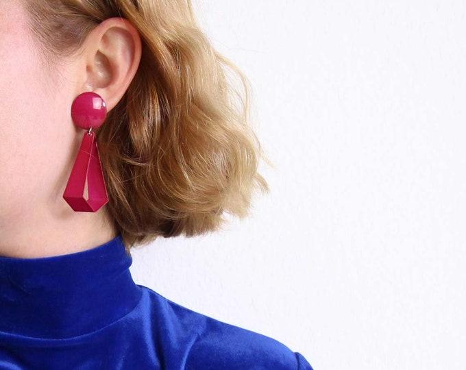 Vintage Pink Earrings 1980s Geometric Dangle Metal Pierced