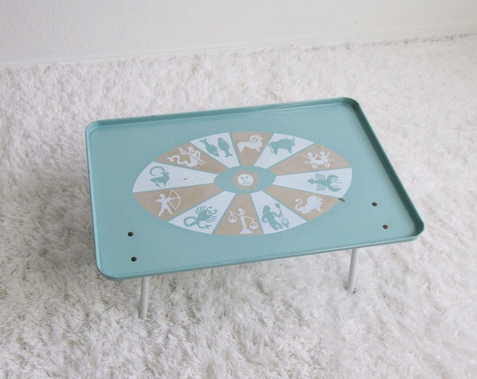 Vintage Tray Astrology Mid Century Dinner Tray Metal