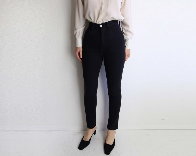 Vintage Black Skinny Jeans Women Pants High Waist Tapered Leg 1990s Made in USA