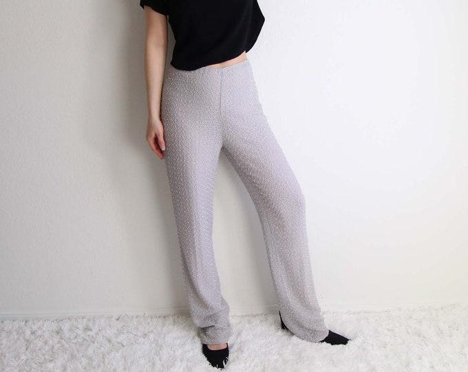 Vintage Womens Pants Size Medium Silver Pants 1990s Badgley Mischka Beaded