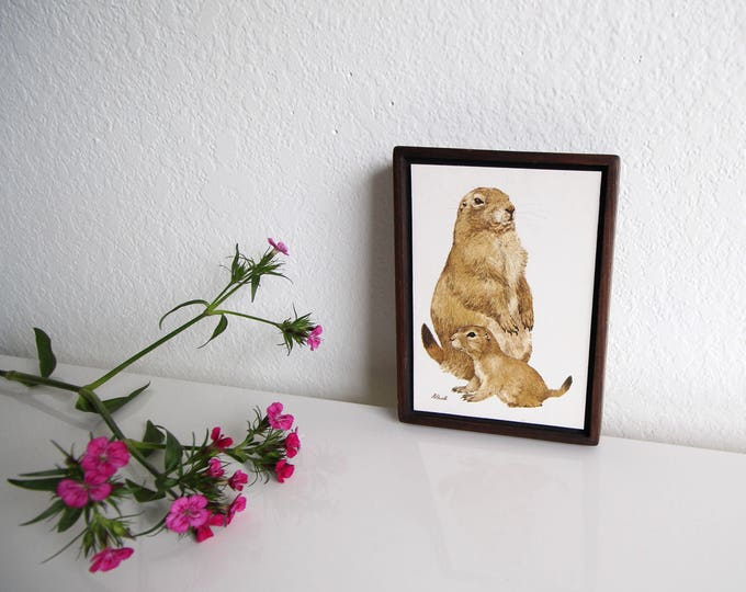 Vintage Small Art Mid Century Wall Hanging Prairie Dog Wood Frame