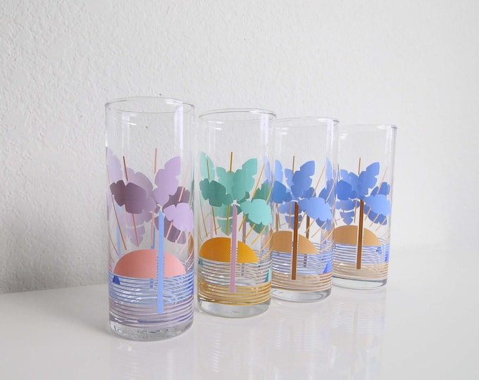 Vintage Tumbler Glasses 1980s Tropical Palm Drinkware Set 4