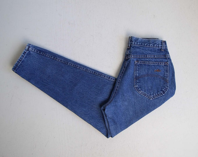 Vintage Jeans Women 27 Denim 1980s Chic Blue High Waist Tapered Leg Made in USA Womens Medium Short