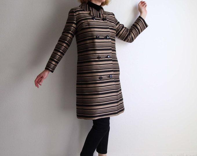 Vintage Jacket Womens Small 1960s Mod Stripes Dress Jacket Brown Black