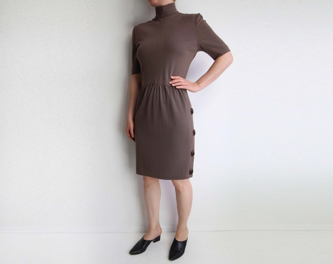 Vintage Dress Womens 1980s Mock Neck Dress Tortoise Brown Shortsleeve Small