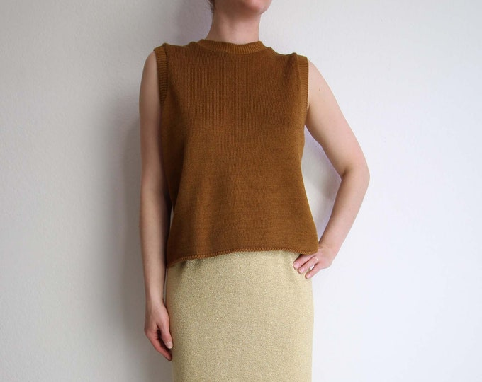 Vintage Sweater Sleeveless Knit Top 1980s Tobacco Brown Womens Medium