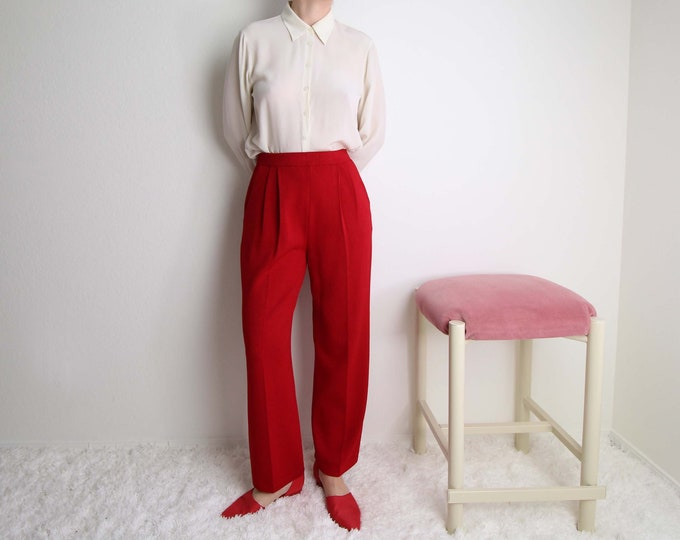 Vintage Red Pants Womens Small St John Knit High Waist