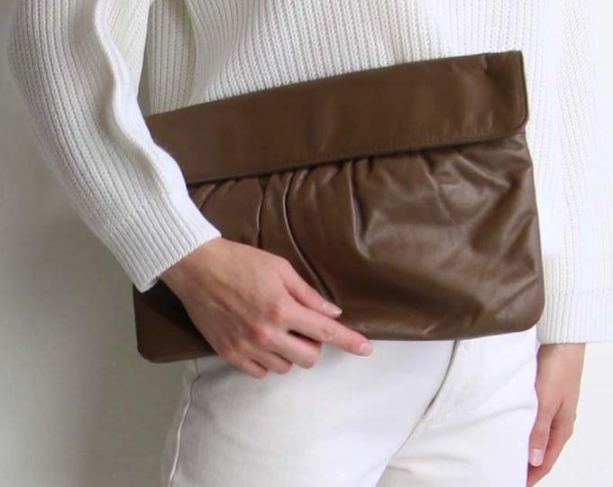 Vintage Clutch Large Leather 1980s Envelope Bag Toffee