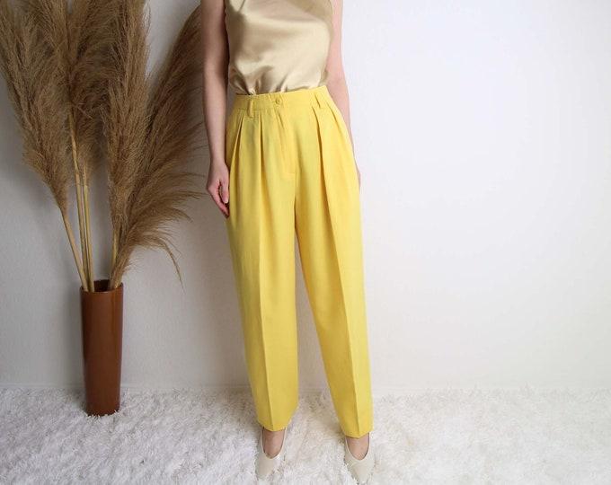 Vintage Womens Pants Yellow Trousers High Waist Pleated 1980s Wool Medium