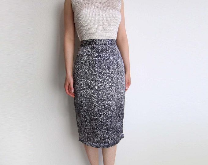 Vintage Skirt Satin Pencil Skirt 1980s Black Silver Print Extra Small
