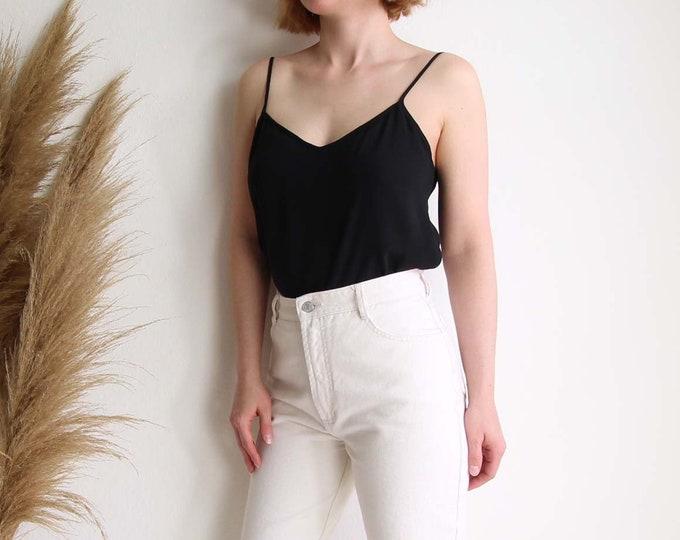 Vintage Black Tank Top 1990s Silk Camisole Womens Top Medium