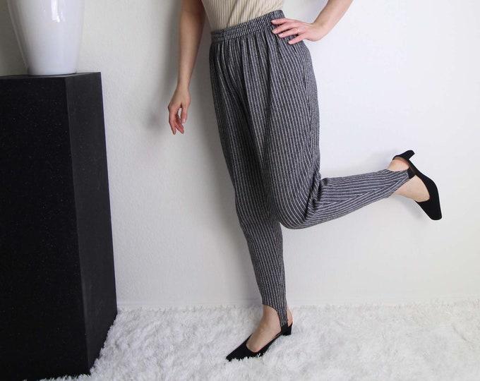 Vintage Stirrup Pants 1990s Black White Stripe High Waist Womens Medium