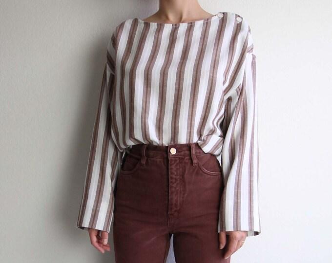 Vintage Striped Shirt Womens Top 1970s Boho Stripes Large