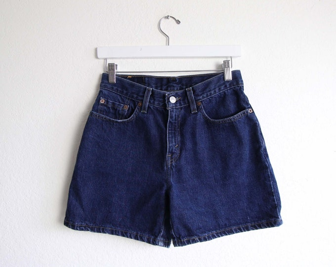Vintage Levis Jean Shorts Womens Dark Denim Shorts Small 27