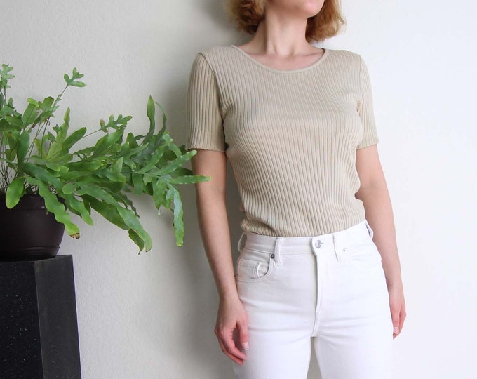 Vintage Womens Shirt 1990s Ribbed Top Shortsleeve Beige Small