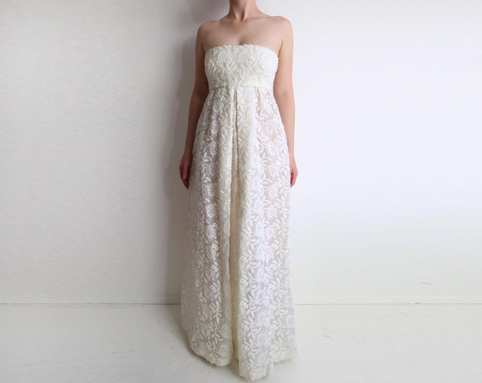 Vintage Wedding Dress White Strapless Gown 1960s Empire Dress Floor Length XS