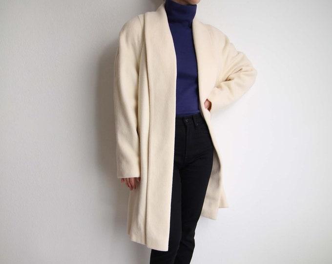 Vintage Ivory Coat Womens Medium 1980s White Wool Open