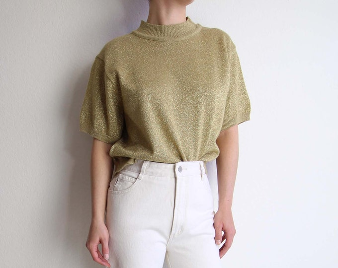 Vintage Gold Sweater 1980s Knit Tshirt Shortsleeve Womens Top Medium